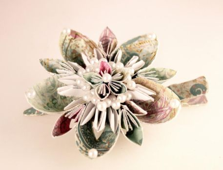 Artisan Double Flower Paper Hair Clip by SmexySarah
