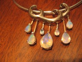Opal Raindrops Necklace by The-EvIl-Plankton
