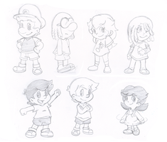 Group of kids by Nintendrawer