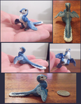 Tiny feathered blue therapod (Sculpey) by tallydragon