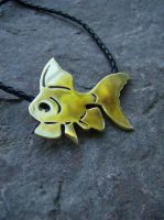 Goldfish Necklace Brass by AbandonedMemory
