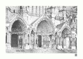 North Side Chartres Portal by Thieres