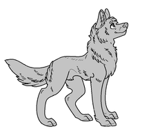 Free to use MSPaint Compatible Wolf Lineart by Birritan