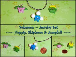 Pokemon - Hoppip Skiploom and Jumpluff Charms by YellerCrakka