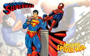 Superman vs Spiderman Arm Wrestling WS by Superman8193