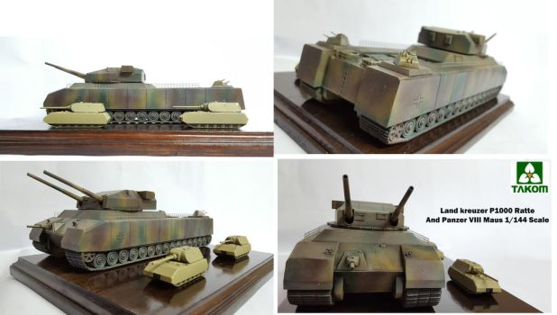 Takom's P1000 Landkreuzer Ratte and Maus 1/144 by oldschool6239