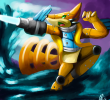 Jacen the robotic Floatzel by Phatmon66