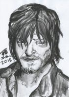 Daryl Dixon The Walking Dead Ink Painting by Mogwai96