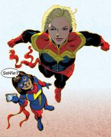 Captain Marvel and Ms Marvel by jamieslorry