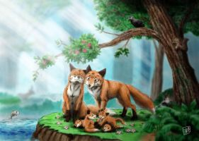 Fox family by SheltieWolf