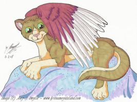 Winged Cat by AmyJSmylie