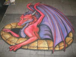 Chalk Art - First attempt at 3D chalk art by chalkdragon