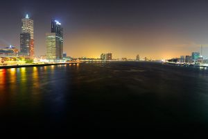 Skyline by night of Rotterdam by lutfiuzun