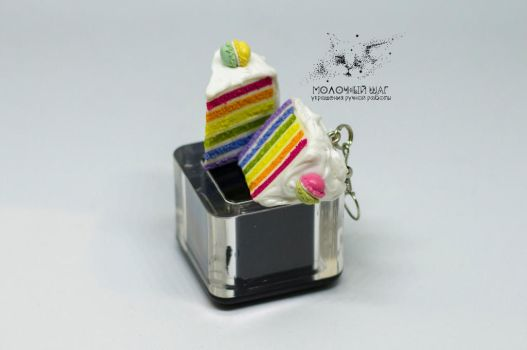 Rainbow Cake Earrings with Macaroons by FoodFairy