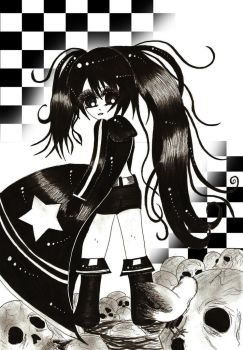 Black Rock Shooter inking by Babydoll-chan