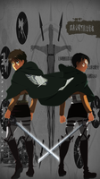 Shingeki No Kyojin Eren and Levi by CursedIceDragon