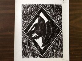 Space Wolf Insignia Ink Print 3 by SPARTAN-WOLF