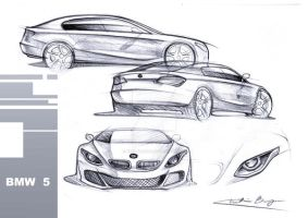 bmw 5 early sketches by kris-burgos