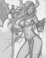 Barbarian Demon Sketch by DJOK3