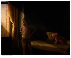 Boy with his dog by nicolaasporter