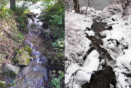A Stream in the Fall / A Stream in the Winter by EnigmaticTeaParty