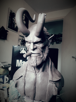 Hellboy Bust WIP by logan250