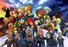 Kingdom Hearts II and Chain of Memories Puzzle Art by montey4