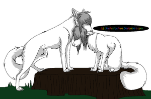 Scene Wolf Couple LineArt by LineArtForFree