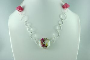 Pink and Green Necklace by michelleaudette