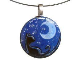 Crescent Moon Black Cat Pendant by sobeyondthis