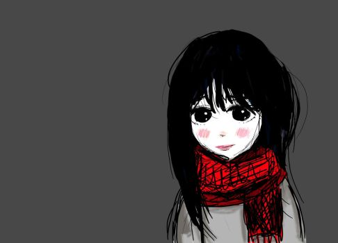 Girl with Scarf (digital doodle) by TwinOfTwins