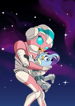 Angry Birds Transformers Stella: Arcee and Daniel by purinpuff