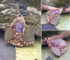 Real leaf with Amethyst by EnchantedTokenArt