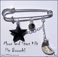 Moon and Stars Kilt Pin Brooch by 1337-Art