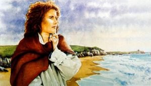 WOMAN WRAPPED UP ON A BEACH WATERCOLOUR by thelastcelt