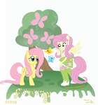 Fluttershys Pony and Eg by Arteses-Canvas