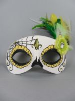 Deluxe Yellow and Green Day of the Dead Web Mask by maskedzone