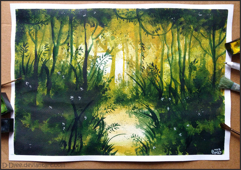 Watercolour forest by D-Dyee