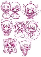 Mini chibi sketches by sakuraGx4nina