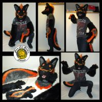 Black/Orange Wolf Part Suit by xHanoukx
