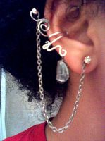 Stormy gray ear cuff by MysticTuna