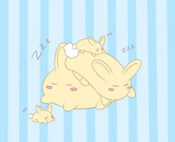 Sleeping Blob Bunnies by Lawlawruu