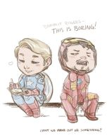 Steve and Tony downtime by JoannaJohnen