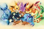 Eevee Evolutions by michellescribbles