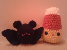 Baby Bat and Candy Corn by sweet-misery788