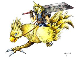 Cloud on a Chocobo by Fireberd904