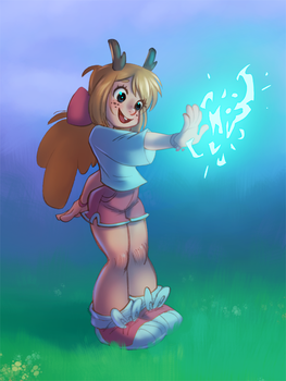 Magical Jackalope Girl by artkitty