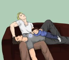 Sleeping on Steve XD by Dashita01