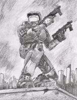 masterchief with background by TheHuntsmansKeeper