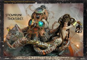 Steampunk Treasures Steam punk Mermaid and Octopus by SutherlandArt